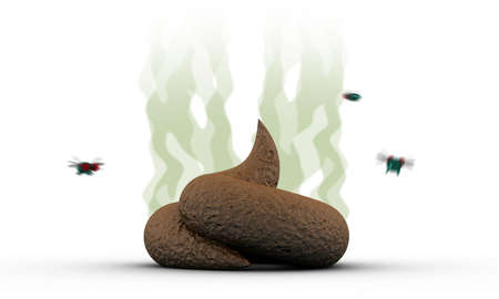 revolting: Smelly Poop with flies, 3d illustration