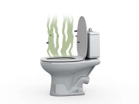 revolting: Stench from the toilet, 3d illustration Stock Photo