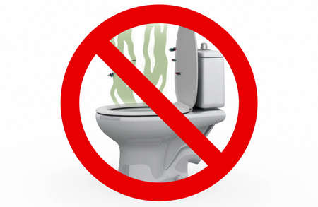 obnoxious: Smell from the Toilet - Prohibited sign, 3d illustration