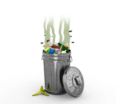 obnoxious: Smelly Trash Can, 3d illustration Stock Photo