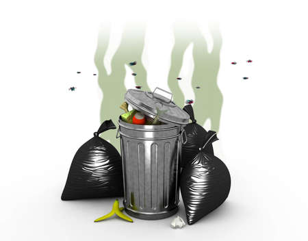 nasty: Smelly Trash Can, 3d illustration Stock Photo