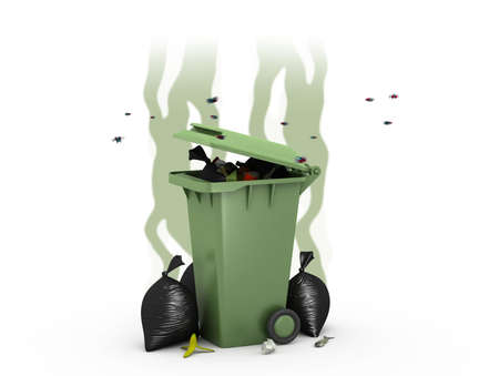 revolting: Smelly Trash Can, 3d illustration Stock Photo