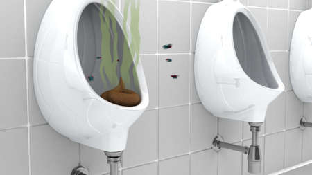 revolting: Poop in Urinal, 3d illustration Stock Photo