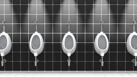 Public bathroom, 3d illustration
