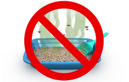 Cat Litter Box in Prohibited sign, 3d illustration Stock Photo