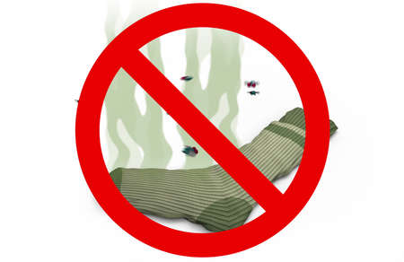 Smelly sock in Prohibited sign, 3d illustration
