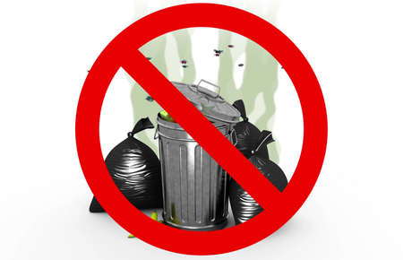 Smelly garbage bin and bags in Prohibited sign, 3d illustration