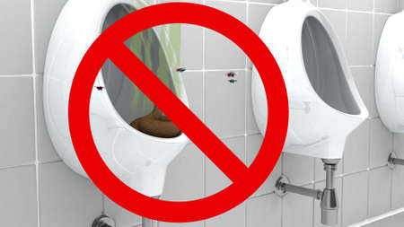 obnoxious: Poop in Urinal, prohibited sign, 3d illustration