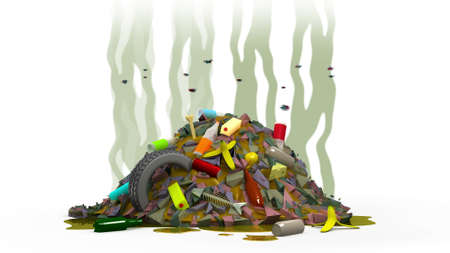 Garbage dump with flies, 3d illustration