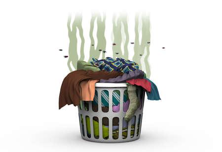 Trapos sucios en la cesta, ilustración 3d