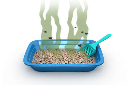 Dirty Cat Litter Box, 3d illustration