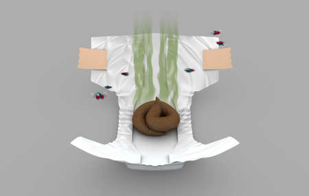 defecate: Smelly Diaper, 3d illustration Stock Photo