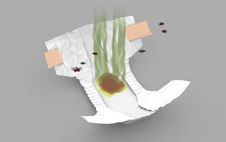 Smelly Diaper, 3d illustration Stok Fotoğraf