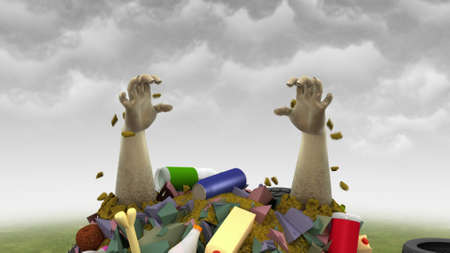 Garbage Monster, 3d illustration