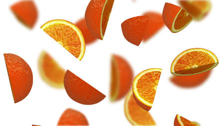 dietary: Lobules of orange falling on white background, 3d illustration Stock Photo