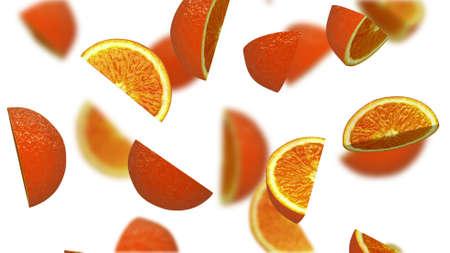 Lobules of orange falling on white background, 3d illustration Stock Photo