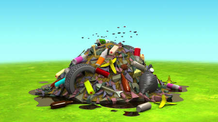 Landfill on the Lawn, 3d illustration