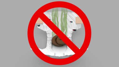 Stinky Diaper - Prohibited sign, 3d illustration