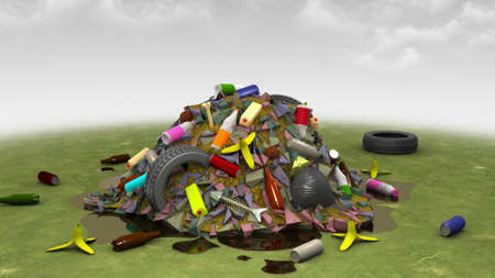 refuse: Landfill on the Lawn, 3d illustration