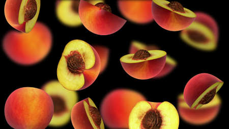fruitage: Sliced pieces of peach falling on black background, 3d illustration Stock Photo