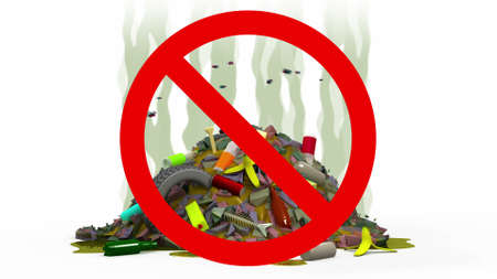 obnoxious: Garbage Dump in Prohibited sign, 3d illustration