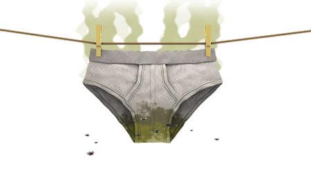 untidy: Dirty underwear, 3d illustration