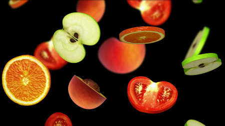 Sliced pieces of fruits falling on black background, 3d illustration Stock Photo