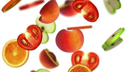 pulp: Sections of fruits falling on white background, 3d illustration