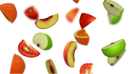 greengrocery: Lobules of fruits falling on white background, 3d illustration Stock Photo