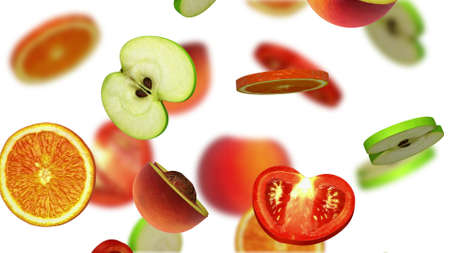 Sections of fruits falling on white background, 3d illustration