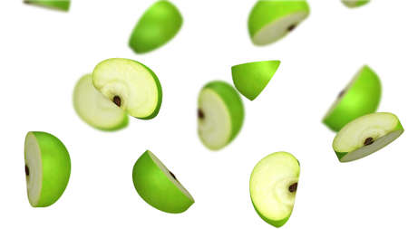Lobules of green apple falling on white background, 3d illustration