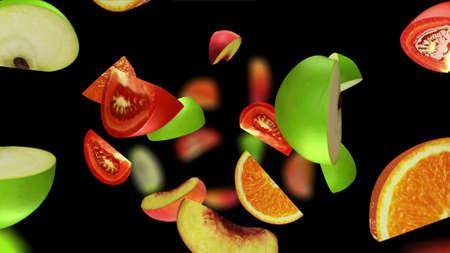 Fruit segments falling on black background, 3d illustration Reklamní fotografie