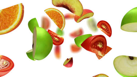 Lobules of fruits falling on white background, 3d illustration Reklamní fotografie
