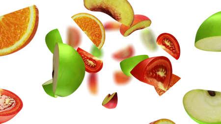 Lobules of fruits falling on white background, 3d illustration Stock Photo