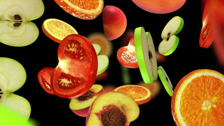 greengrocery: Sliced pieces of fruits falling on black background, 3d illustration Stock Photo