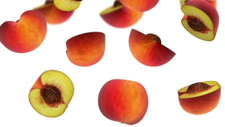 Sections of peach falling on white background, 3d illustration Stock Photo