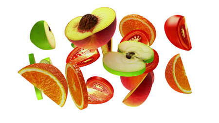 Fruit segments on white background, 3d illustration