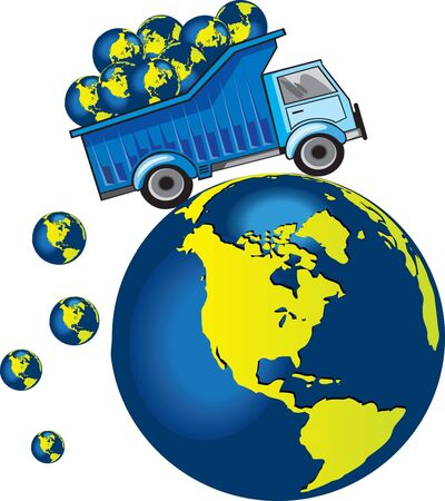 Track with planet Earth - our world. Delivering Earth to another place. Conceptual drawing. Stock Photo