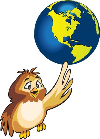Illusion -  cartoon style owl keeps planet Earth on pet wing  Stock Photo