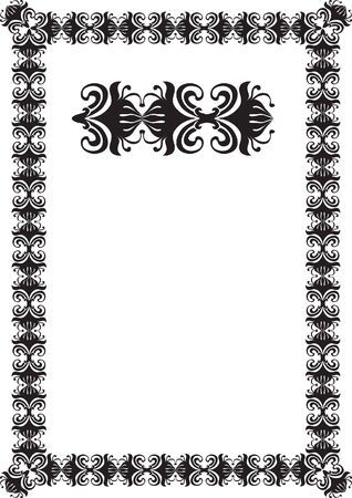 black floral frame border pattern  Stock Photo - 7780340