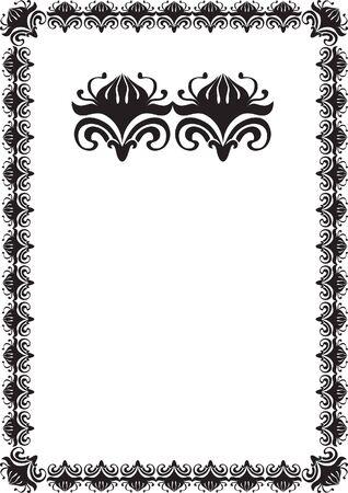 black floral frame border pattern  Stock Photo - 7780327