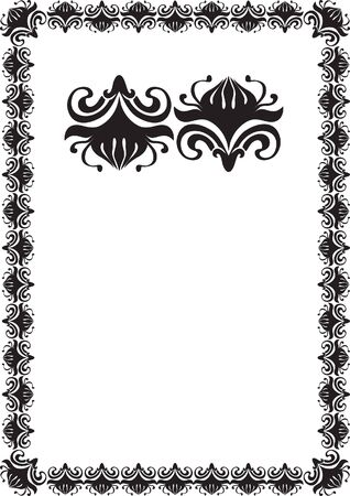 black floral frame border pattern