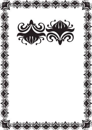 black floral frame border pattern Stock Photo - 7780329