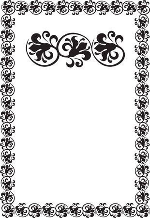 black floral frame border pattern Stock Photo - 7780331