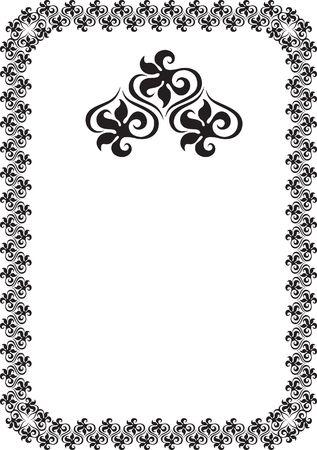 black floral frame border pattern  Stock Photo - 7780338
