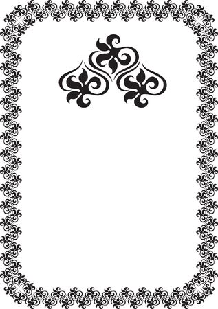 black floral frame border pattern  Stock Photo