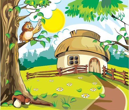 sol caricatura: Peque�a casa bajo un cielo azul en que sol brillando al propio sobre el �rbol, en la hoja de color marr�n