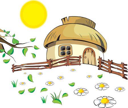 granja caricatura: Peque�a casa bajo con sol, flores, hojas y valla sobre el fondo blanco. Listo para usar.
