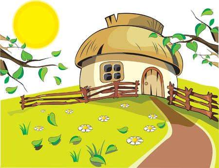 Small house under with sun, flowers, leaf and fence on the white background. Ready to use.   photo