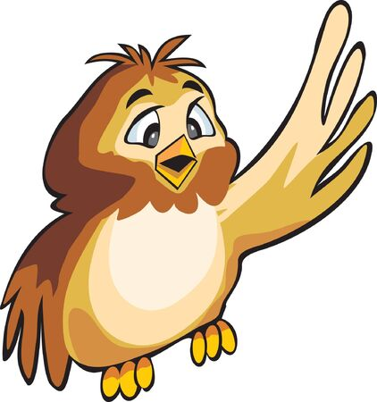 Brown bird  owl on isolated and ready to use on the white background. Stock Photo - 7780345